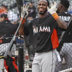Miami Marlins' Jose Reyes reacts to fans before a baseball game against the New York Mets on Tuesday, April 24, 2012, at Citi Field in New York.