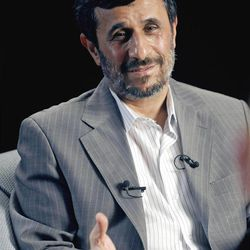 In this Sept. 19, 2010 file photo, Iranian President Mahmoud Ahmadinejad is interviewed by journalists from The Associated Press in New York.