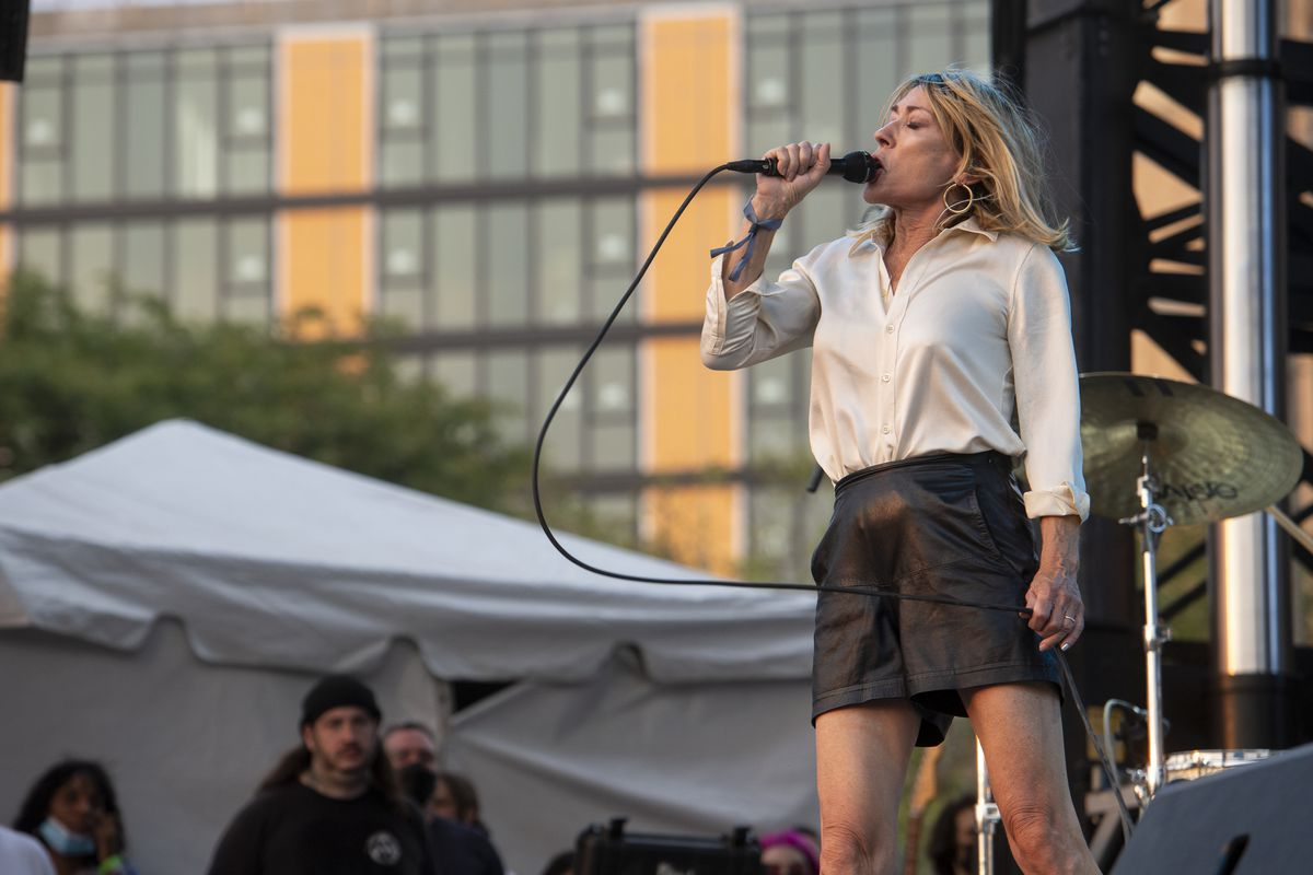 Kim Gordon performs at the Blue Stage at Pitchfork music festival at Union Park, Saturday, Sept. 11, 2021.