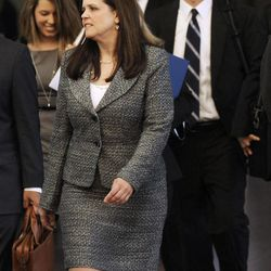William Balfour's defense attorney Amy Thompson, along with his defense team, walks to court at the Cook County Criminal Court on the first day of the trial of Balfour,  in Chicago, Monday, April 23, 2012. Balfour is charged in the 2008 murder of Oscar winning actress and singer Jennifer Hudson's mother, brother and nephew.