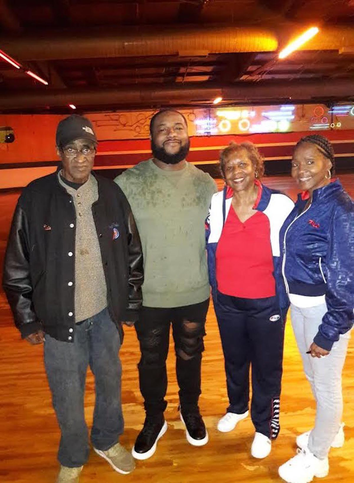Nate Simpson at The Rink with (from left) his grandson William, business partner and ex-wife Carmen Simpson Clark and daughter Valencia.