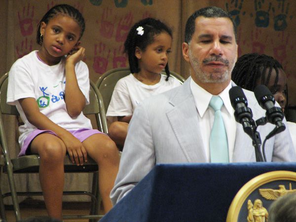 Governor David Paterson, speaking today at Harlem's P.S. 208