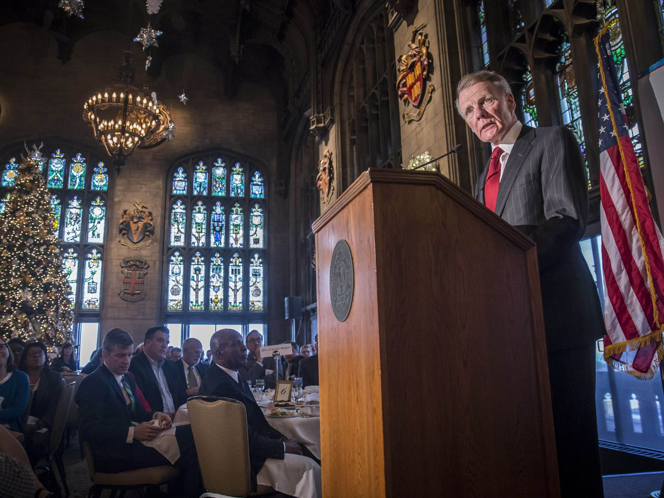 State House Speaker Mike Madigan addresses the City Club of Chicago, at the University Club of Chicago in 2015.