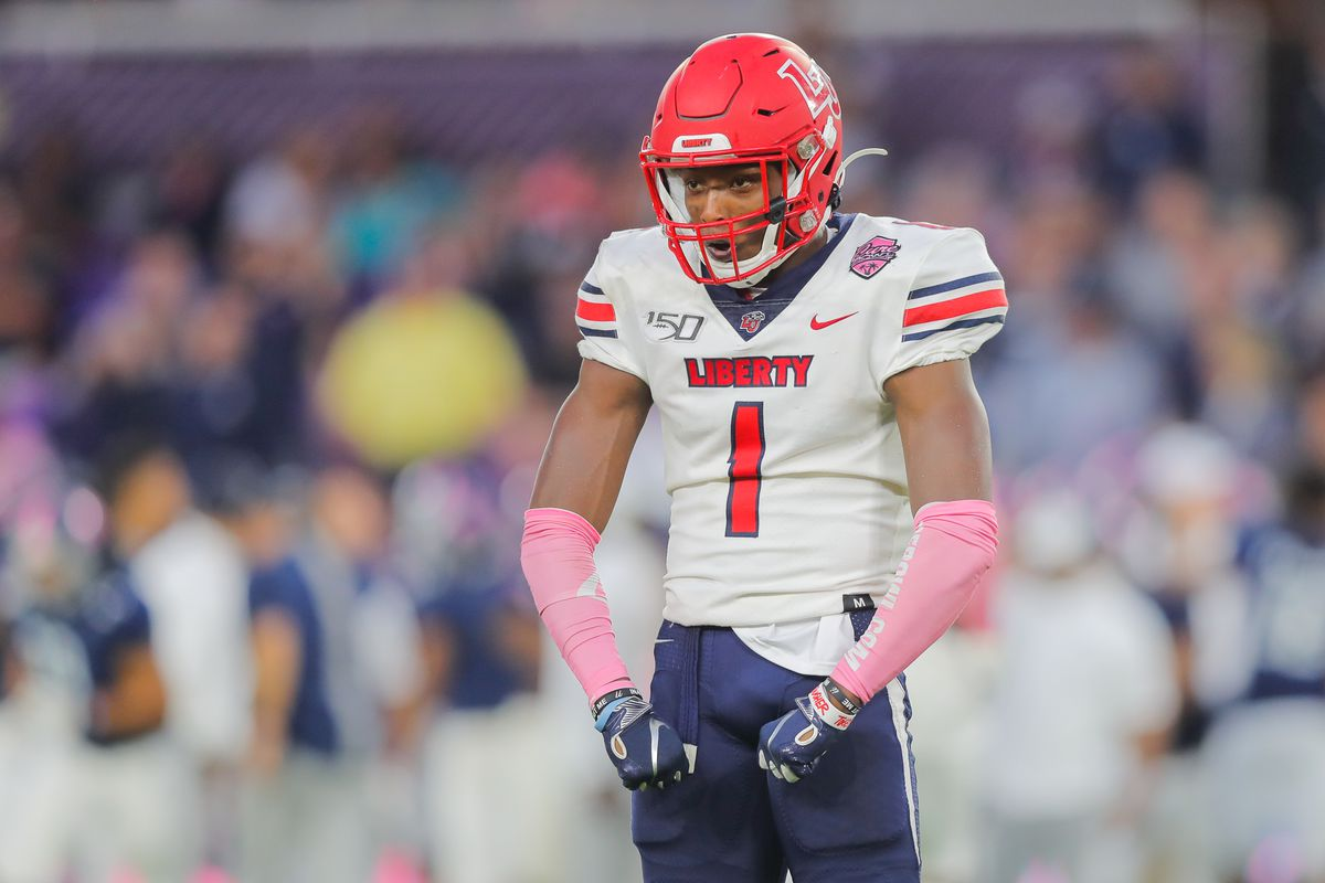 Javon Scruggs of the Liberty Flames reacts after a play during the fourth quarter of the 2019 Cure Bowl against the Georgia Southern Eagles at Exploria Stadium on December 21, 2019 in Orlando, Florida.