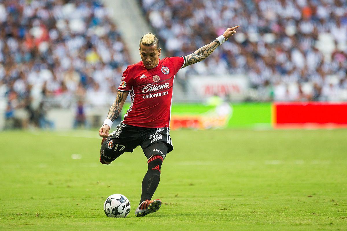 Tijuana's Dayro Moreno winds up for a shot against Monterrey. Xolos and Rayados drew 0-0.