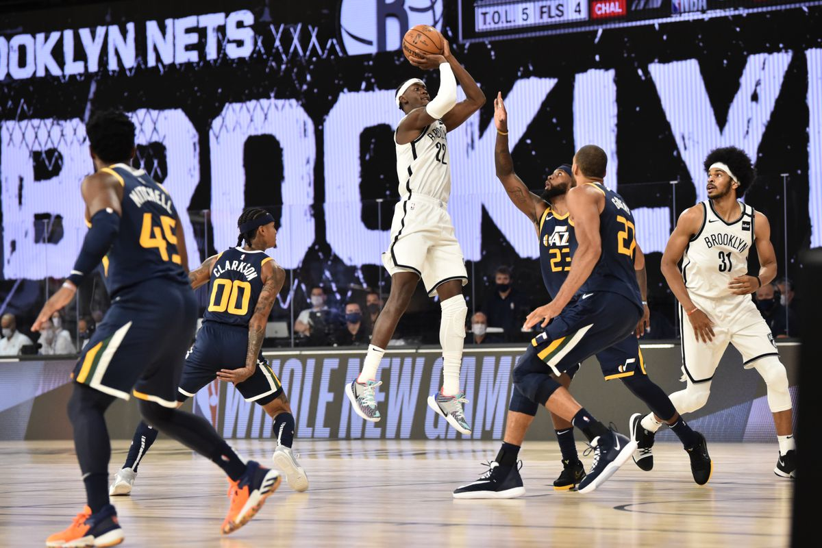 Caris LeVert of the Brooklyn Nets shoots the ball against the Utah Jazz during a scrimmage on July 27, 2020 at The Arena at ESPN Wide World of Sports in Orlando, Florida.