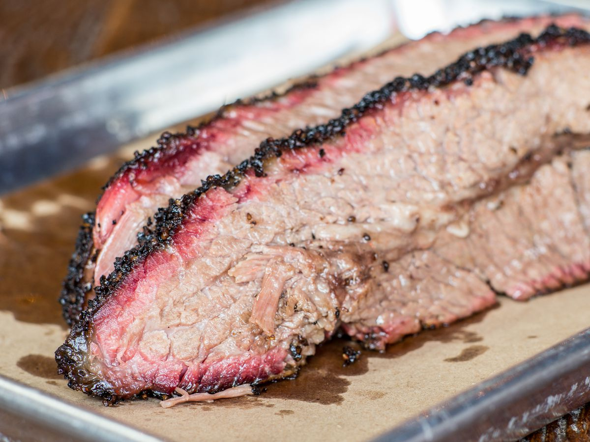 Slices of brisket from Hometown Bar-B-Que