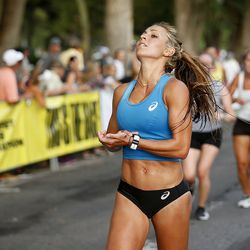 Makenna Myler runs to the finish line in the Deseret News Half Marathon in Salt Lake City on Friday, July 23, 2021. Myler finished as the first place woman in the half marathon.