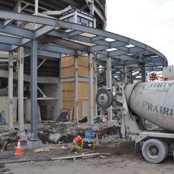 Concrete truck in front of the main bleacher entrance -
