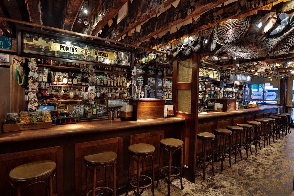 Interior shot of an upscale Irish pub