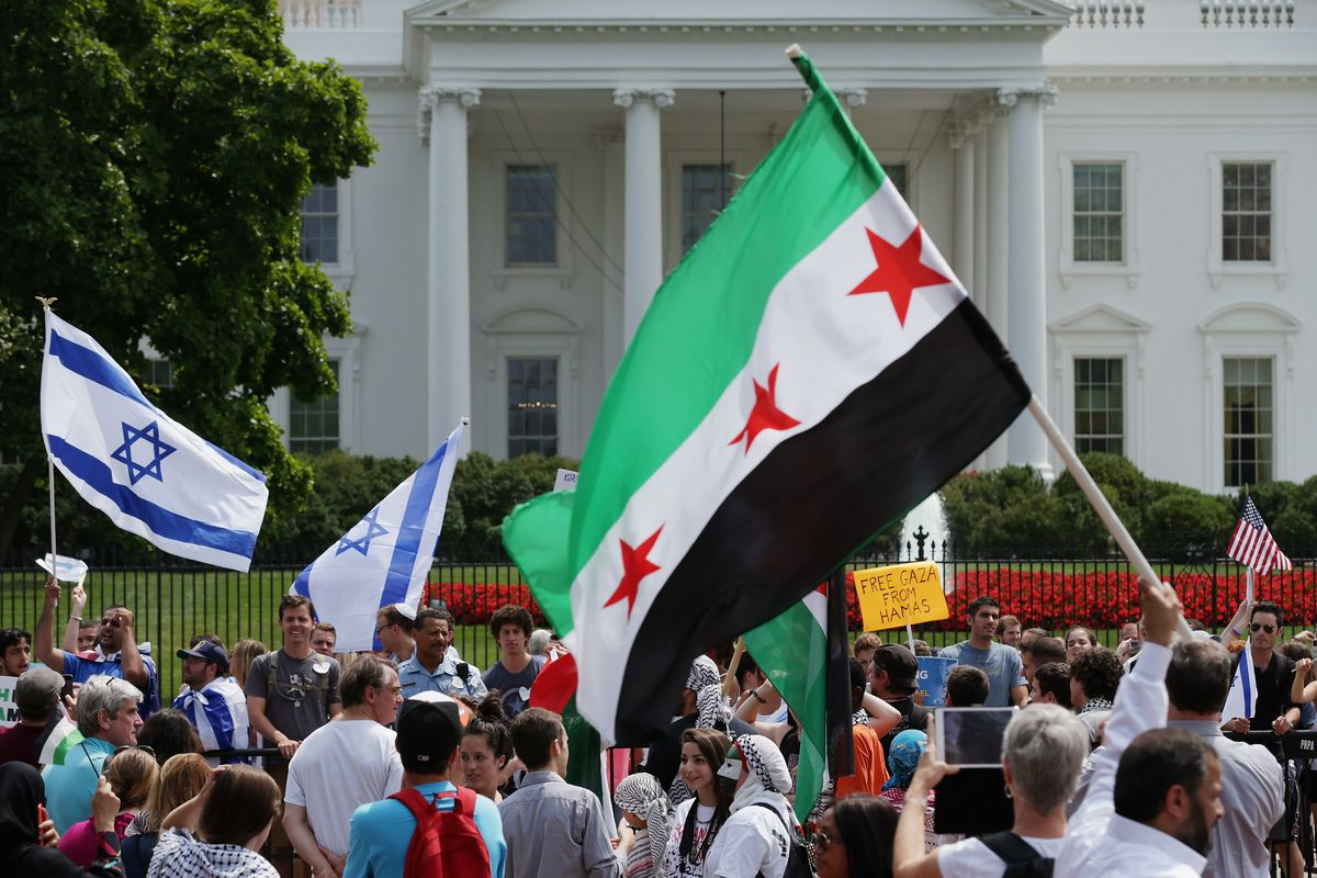 Pro-Israel and pro-Palestinian demonstrators outside the White House in 2014.