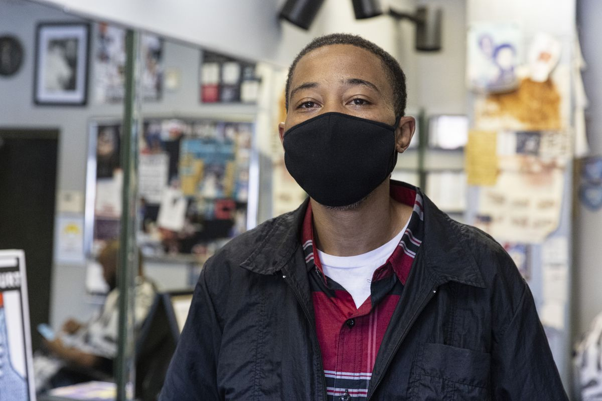 Lincoln Brown poses for a portrait at Cut It Out Curt at 1741 1/2 E 71st St, in Southshore, Thursday, May 20, 2021. | Anthony Vazquez/Sun-Times