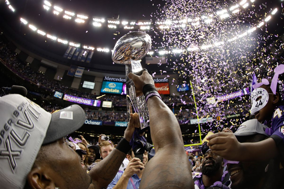 The Baltimore Ravens celebrate with the Vince Lombardi Championship trophy celebrate after the Ravens won 34-31 against the San Francisco 49ers during Super Bowl XLVII at the Mercedes-Benz Superdome on February 3, 2013 in New Orleans, Louisiana.