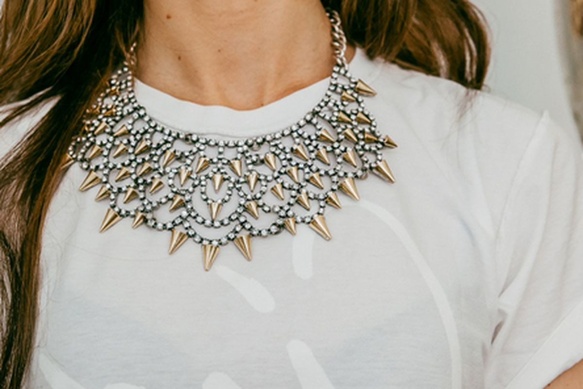 """A Baublebar necklace on Julia Straus, the company's director of partnerships; Photo by <a href=""""http://drielys.com"""">Driely S.</a> for Racked"""