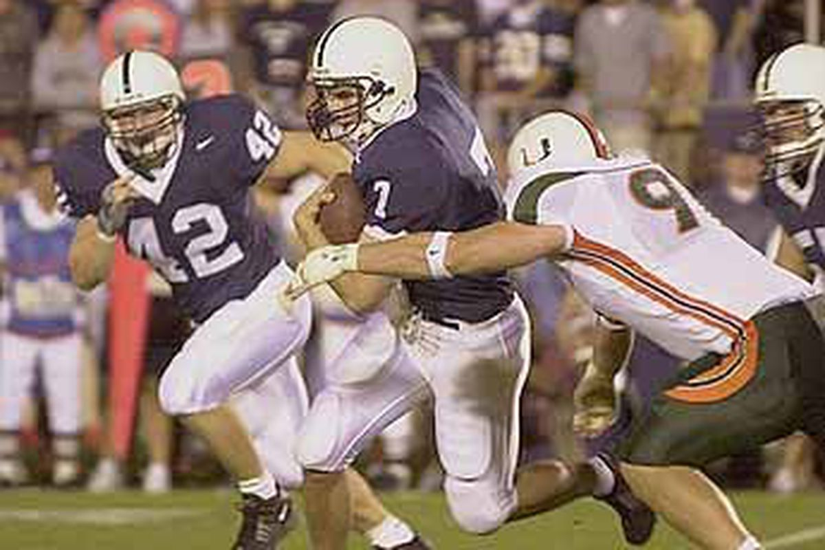 Miami dominated Penn State 33-7 on the road during the 2001 season.