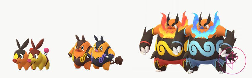 A comparison between Tepig, Pignite, and Emboar's normal and Shiny colors. Shiny Tepig is more golden and red. Shiny Pignite is a lighter orange with light purple accents. Shiny Emboar has blue flames and accents.