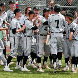 Riverton players congratulate Easton Norris after he hit a home run during a high school baseball game against Lone Peak in Highland on Tuesday, June 2, 2020.
