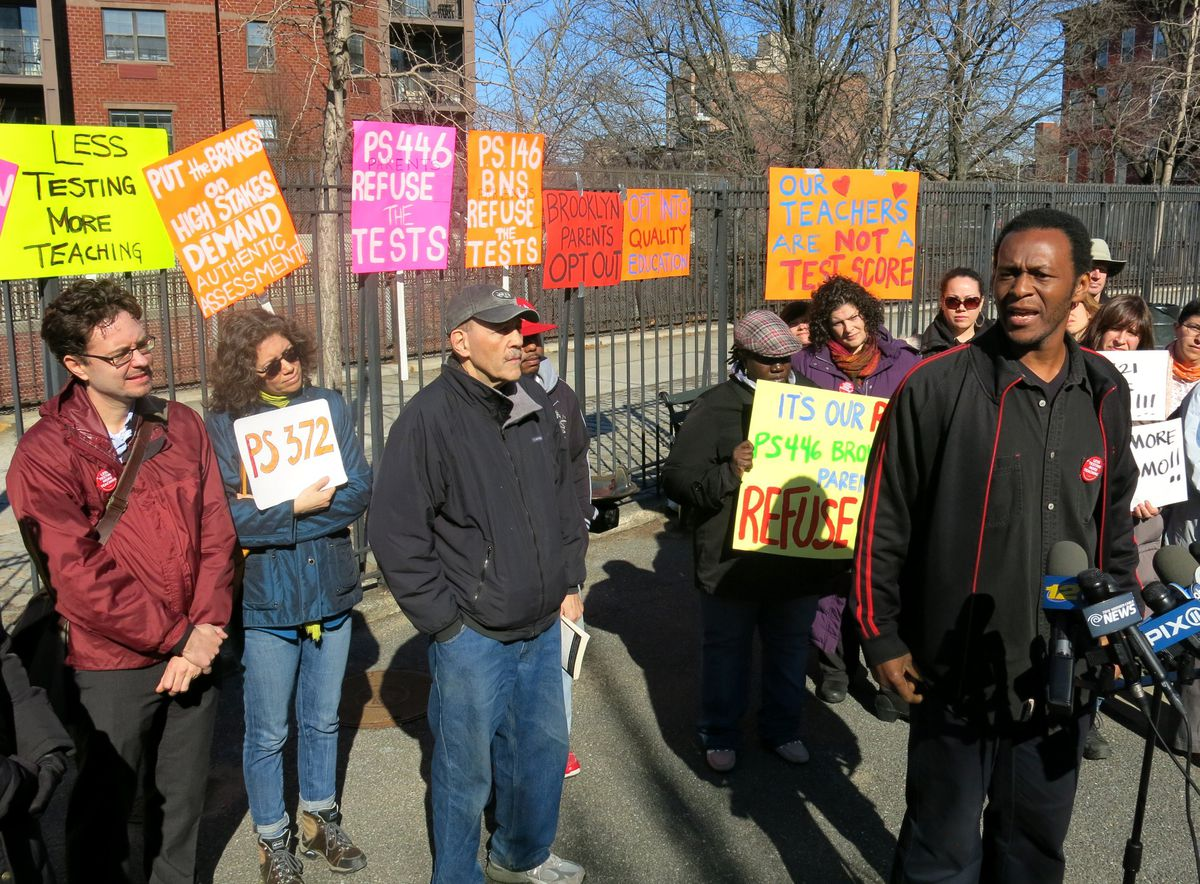Parents who are boycotting this year's state exams gathered Tuesday outside the Brooklyn New School.