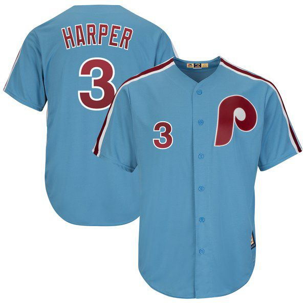 Bryce Harper Majestic Cool Base Cooperstown Player Jersey - Light Blue for   119.99 Fanatics 04273fb51