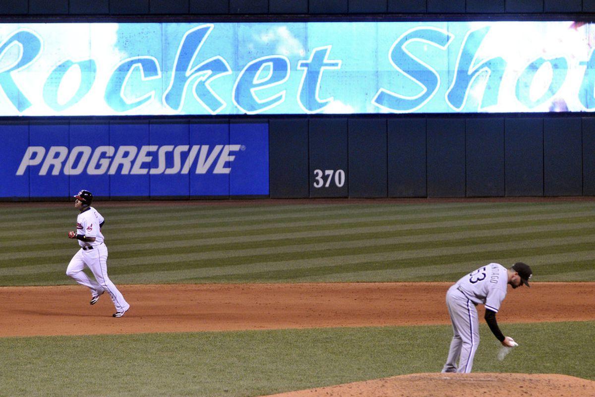 Hector Santiago won't watch Jose Lopez round the bases.