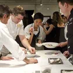 Daniel Boulud (far left), Aaron Chambers (second from left), Kristen Kish (center)