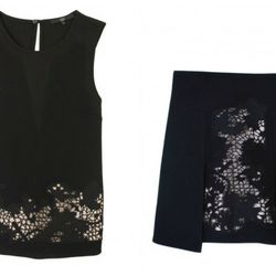 """Tibi crochet embroidered top, <a href=""""http://www.tibi.com/shop/new-arrivals/crochet-embroidered-sleeveless-top-32842"""">$335</a>; embroidered flap skirt, <a href=""""http://www.tibi.com/shop/new-arrivals/crochet-embroidered-flap-skirt-32844"""">$365</a>"""