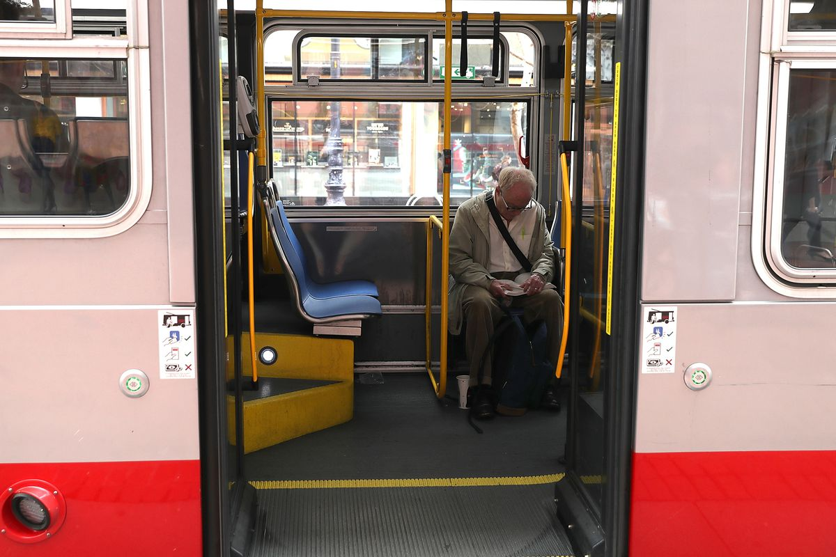 A passenger sits on a MUNI bus on March 21, 2018 in San Francisco, California.