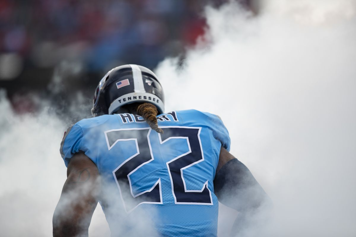 Detail view of rear nameplate on the jersey of Derrick Henry of the Tennessee Titans as he is announced before the game against the Houston Texans at Nissan Stadium on December 15, 2019 in Nashville, Tennessee.