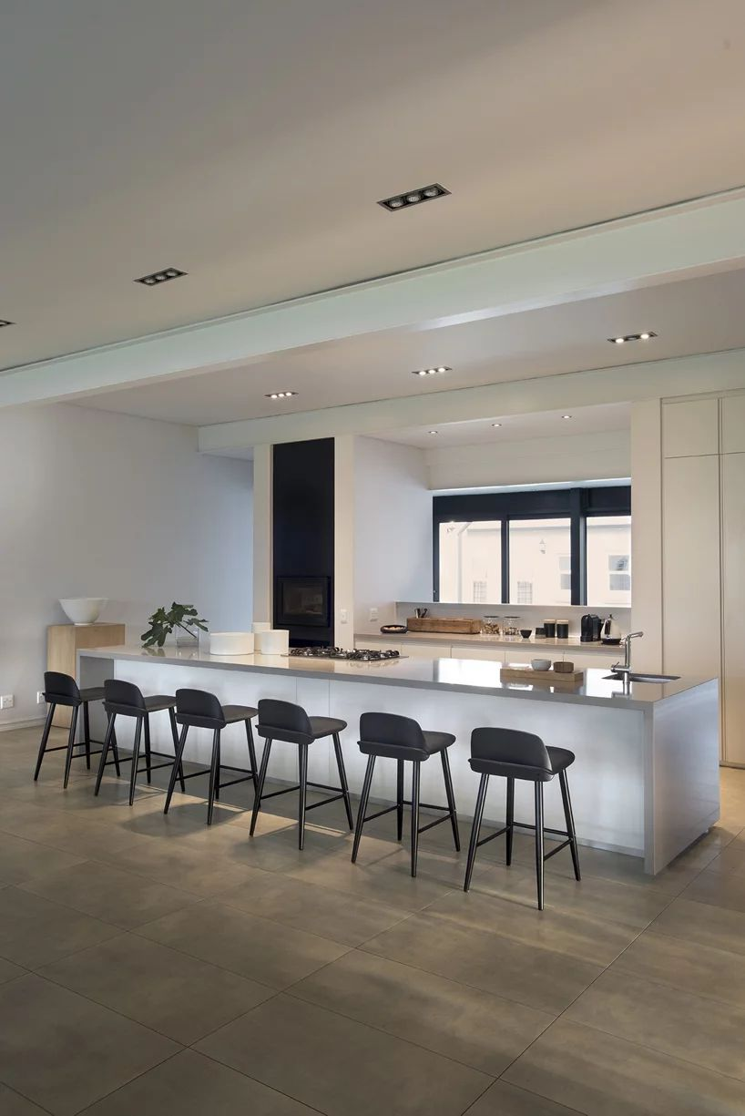 Kitchen with long breakfast bar