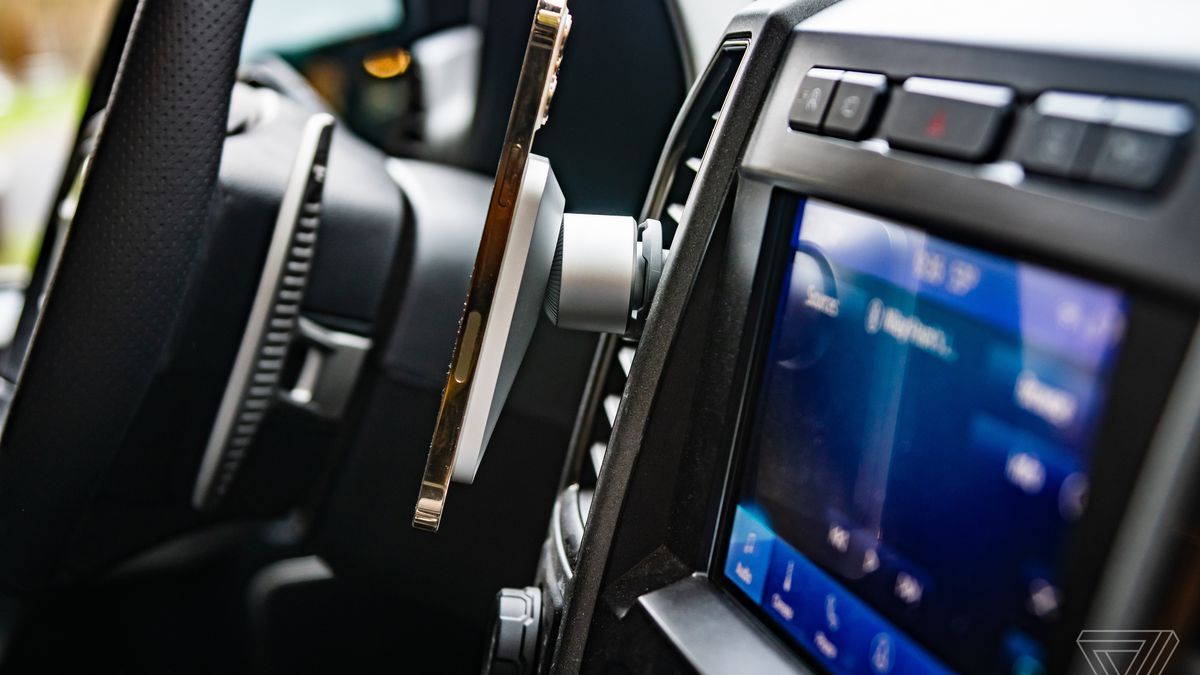The Belkin Car Vent Mount Pro with Magsafe in a Ford F-150