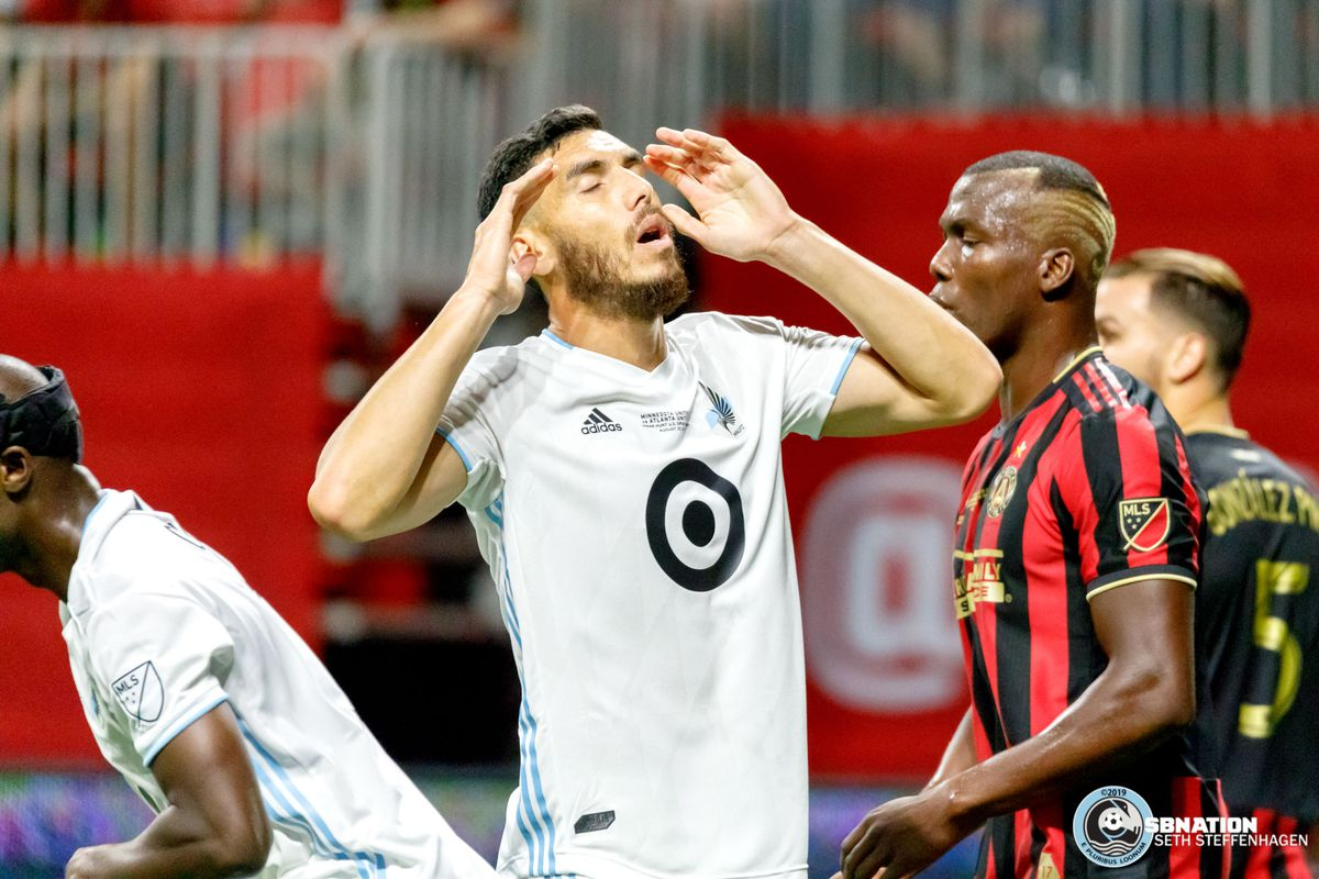 August 27, 2019 - Atlanta, Georgia, United States - Minnesota United defender Michael Boxall (15) reacts to a missed goal scoring opportunity during the US Open Cup Final against Atlanta United at Mercedes-Benz Stadium.