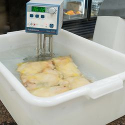 Sous vide chicken for the crispy brick chicken thigh