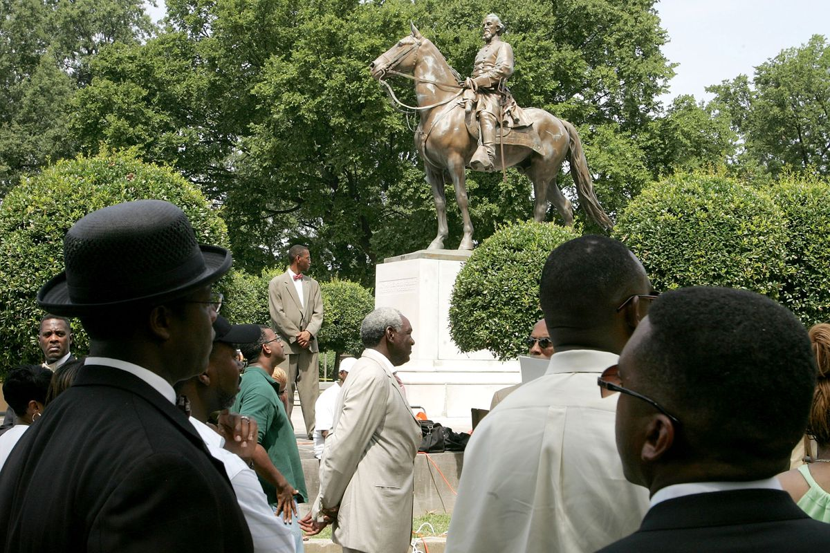 A statue of Nathan Bedford Forrest in Memphis, Tennessee.