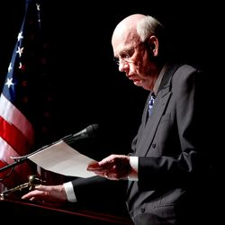 Senator Bob Bennett Speaks at his Reelection Party at the Rose Wagner Performing Arts Center in Salt Lake City Tuesday March 16, 2004 Photo by Scott G. Winterton/Deseret Morning News.                                (Submission date: 03/16/2004)