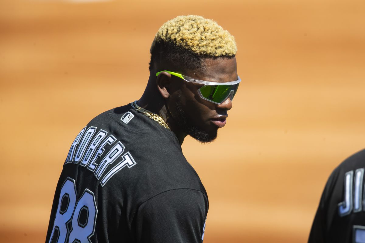Chicago White Sox outfielder Luis Robert against the Los Angeles Dodgers during a Spring Training game at Camelback Ranch Glendale.