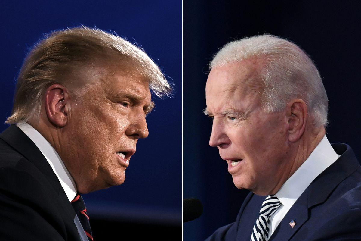 A split head-to-head image of Trump and Biden