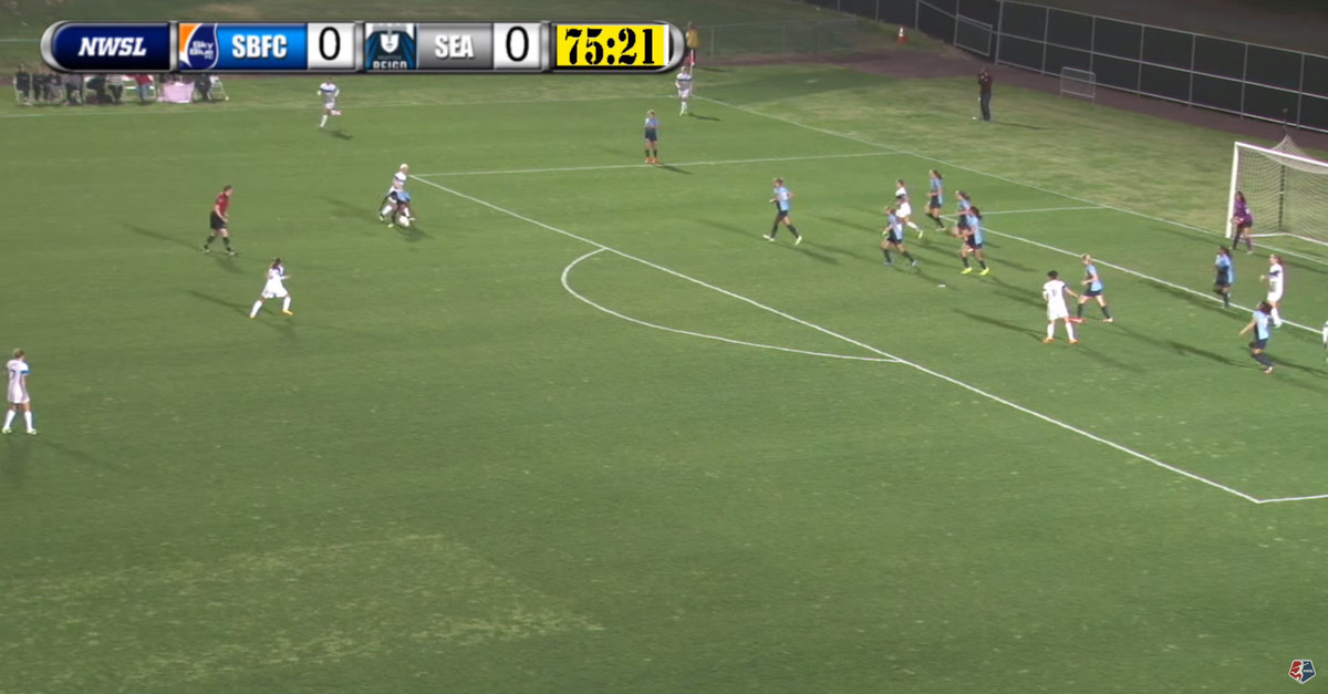 Sky Blue once again had all 10 field players back. With 9 of 10 field players in the box, Hayes is forced to cover two players at the top of the 18. Once she commits, you can see the ball being laid off to the open player who scores with time from the 18.