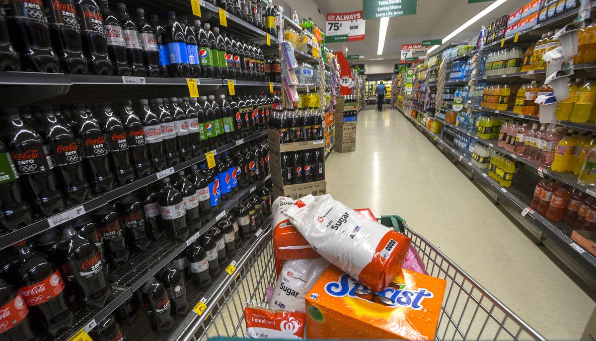 In this photo illustration, products containing high sugar levels are on display at a supermarket on April 8, 2016 in Melbourne, Australia.  (Photo by Luis Ascui/Getty Images)