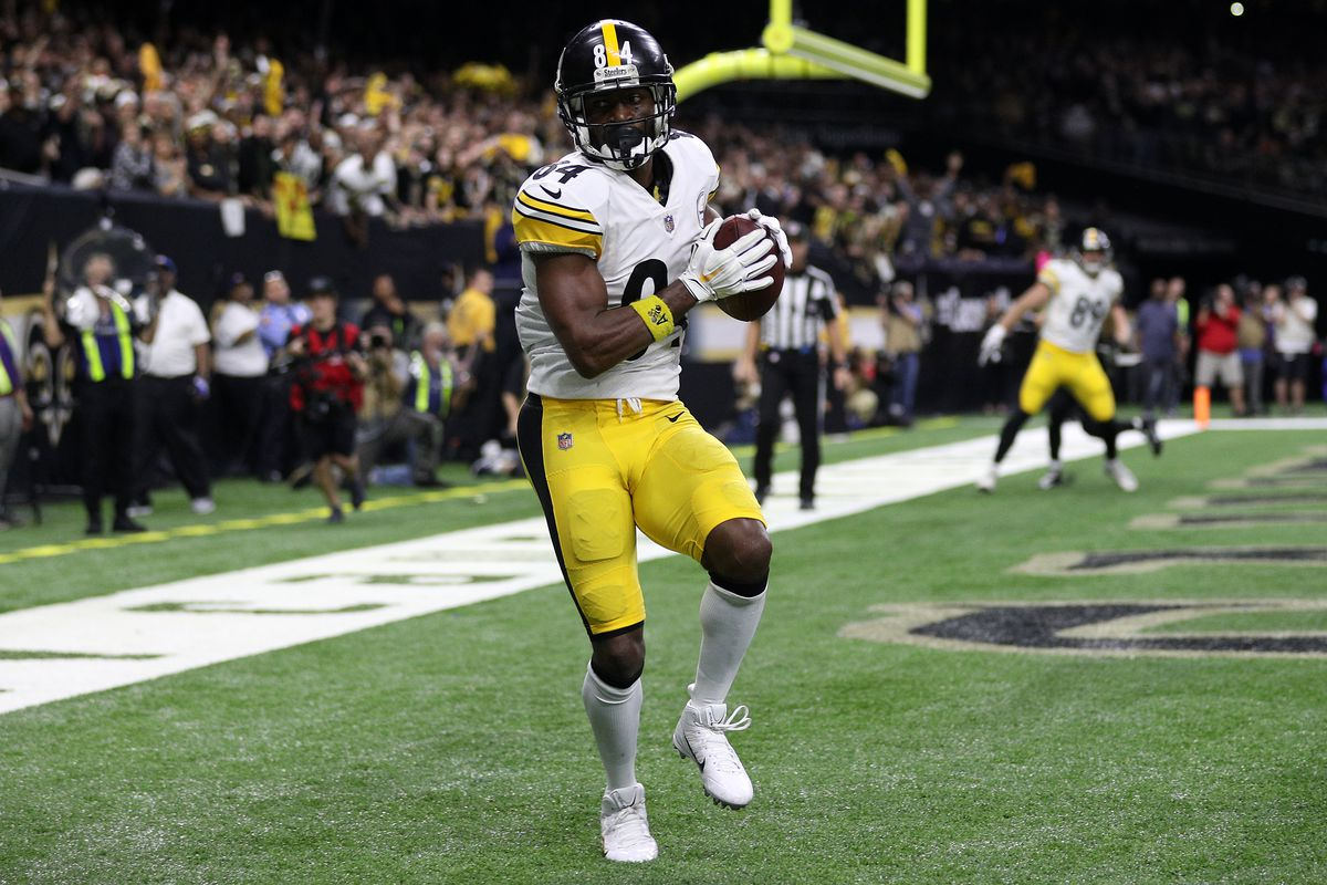 Antonio Brown catches the ball for a touchdown