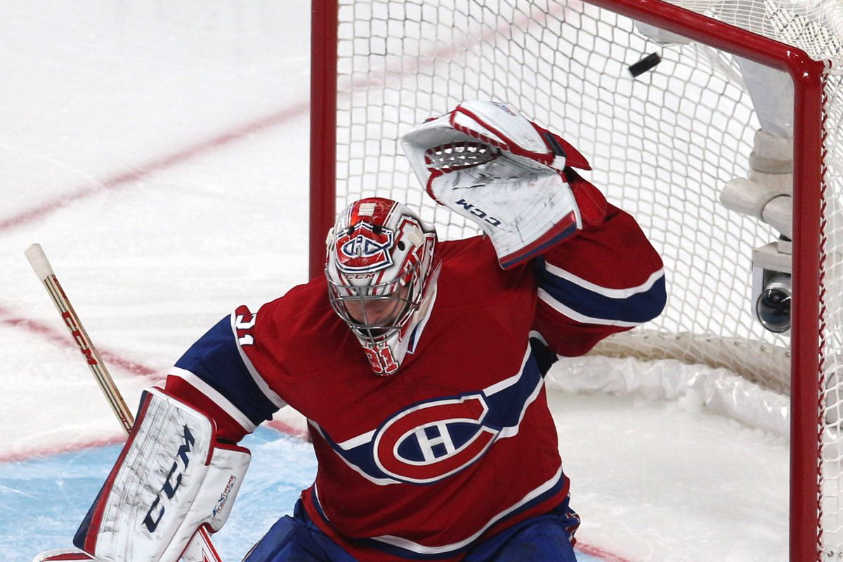 Here's a picture of Carey Price getting smoked by a shot from Michael Ryder.