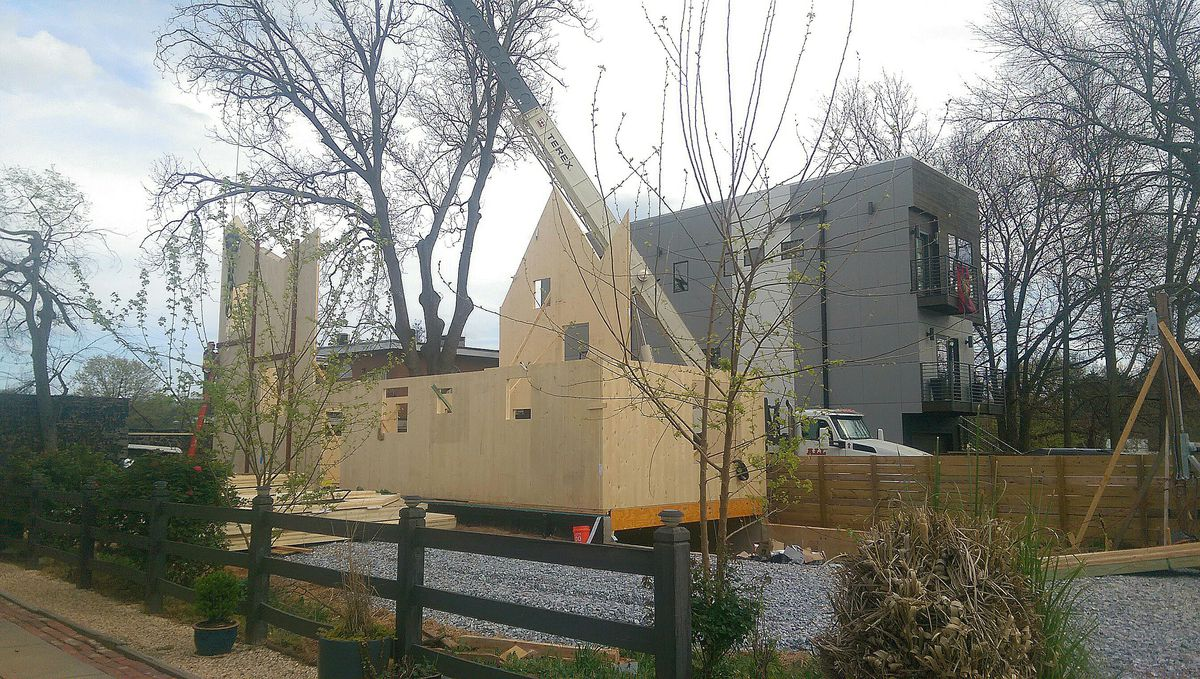 A photo of the under-construction home on Sampson Street in Old Fourth Ward.