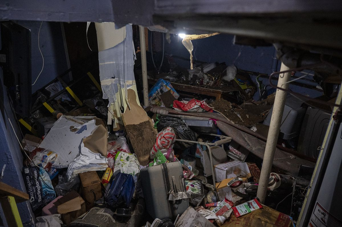 The basement at 90-12 183rd where Abdol Hack, 63, kept his son's wedding presents while he was away on a honeymoon, Sept. 2, 2021.