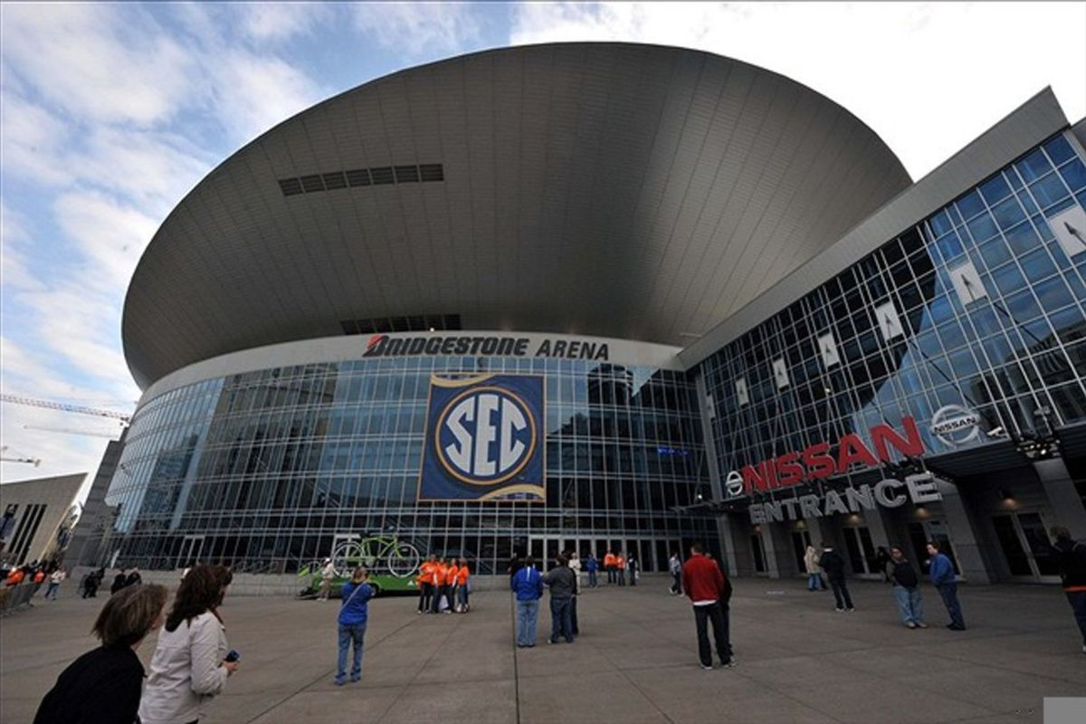 Mar 4, 2012; Nashville,TN, USA; A general view as fans arrive for the finals of the 2012 SEC Tournament between the Tennessee Volunteers and LSU Tigers at Bridgestone Arena. Mandatory Credit: Jim Brown-US PRESSWIRE