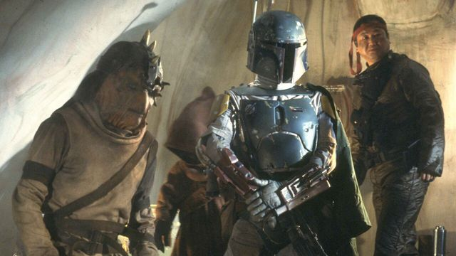 Boba Fett stands in Jabba's palace in a still from Star Wars: Return of the Jedi