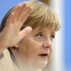 FILE - In this Sept. 17, 2012 file photo, German Chancellor Angela Merkel gestures during a press conference in Berlin. Germany's main opposition party is itching to end Angela Merkel's 7-year grip on power — but with elections a year away, there is no challenger in place and little sign of a winning strategy.