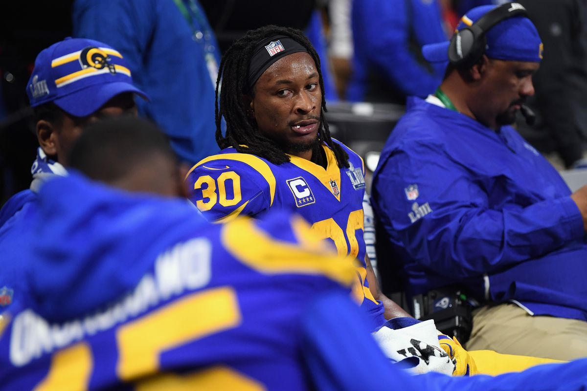 Los Angeles Rams RB Todd Gurley on the bench during Super Bowl LIII against the New England Patriots, Feb. 3, 2019.