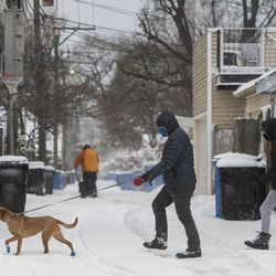 A couple walks their dog along the sidewalk in Edgewater as a winter snow storm batters Chicago, Tuesday morning, Jan. 26, 2021.