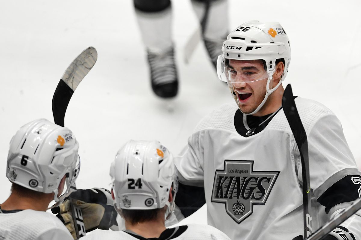 Los Angeles Kings defenseman Sean Walker (26) reacts after a Kings goal during the third period of a game against the Anaheim Ducks played on April 30, 2021 at the Honda Center in Anaheim, CA.