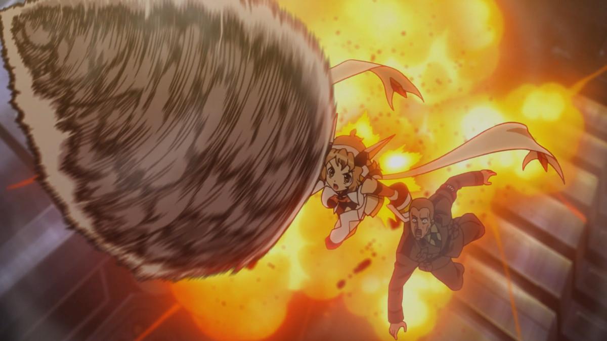 Symphogear girl escaping a fireball