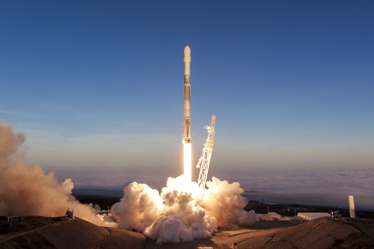 <em>SpaceX's Falcon 9 rocket takes off from Vandenberg Air Force Base for the Iridium-5 mission.</em>